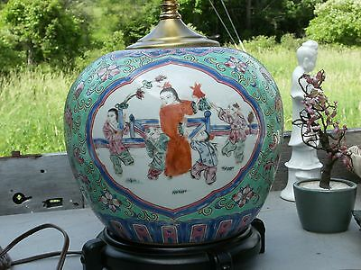 ANTIQUE CHINESE FAMILLE BATS PEOPLE VASE LAMP