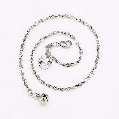 """9ct 9k White """"Gold FILLED"""" Ladies Twisted Bell ANKLE CHAIN ANKLET ,10.6"""" GIFT"""