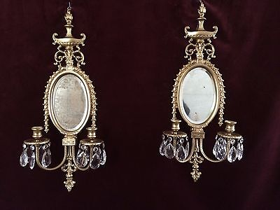 2 Victorian Brass Oval Beveled Mirror Double Arm Candle Wall Sconces With Prisms