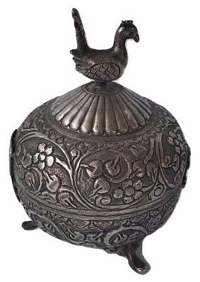Fine Antique Persian Silver Footed Casket/ Covered Box  w/ Peacock Finial