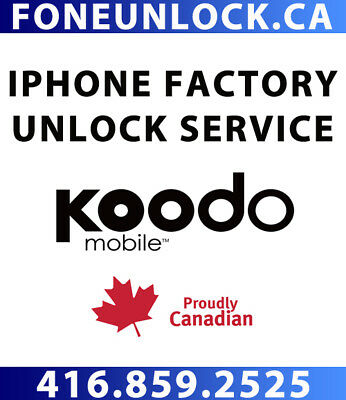 Unlock Koodo iPhone 4/4S/5/5S/5C/6/6+/6S/6S+/SE/7/7+