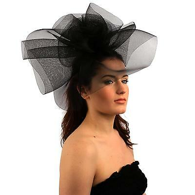 Fancy Kentucky Derby Tulle Headband Comb Fascinator Millinery Cocktail Hat Black