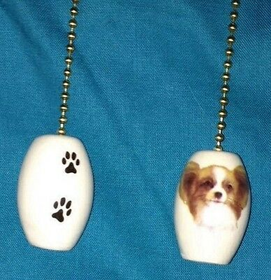 One Papillon Dog Fan Pull With Paw Prints On The Back 1""