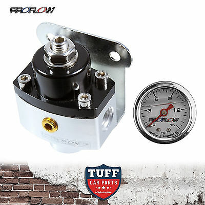 Proflow 13216 2 Port Carby Fuel Pressure Regulator FPR 5 - 12 PSI with Gauge New