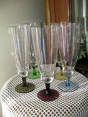 Set of 5 Vintage Art Deco Stepped  Harlequin Drink/Champagne/Parfait Glasses