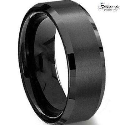 New Mens Black Brush Center Tungsten Carbide Promise Ring Wedding Band 8mm