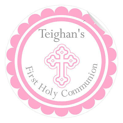 24 Personalised First Holy Communion Gloss Stickers Labels Favours Pink 40mm