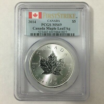2014 Canada Canadian $5 Silver Maple Leaf PCGS MS 69 First Strike 1 Oz Pure 9999