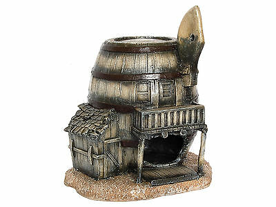 Western Wooden Barrel Saloon Fish Cave Aquarium Ornament Fish Tank Decoration