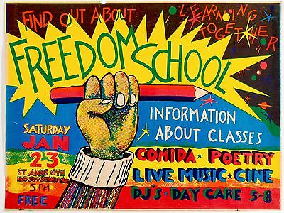 COLAB Poster: Freedom School, 1985. Rare, Limited Edition, Fine Art Poster.