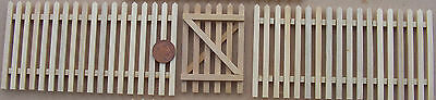 1:12th Natural Finish Set Of 2 Picket Fence Pieces & Gate Dolls House Miniature