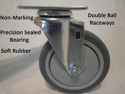 "5"" x 1-1/4"" Swivel Caster Thermoplastic Soft Rubber Non-Marking Wheel 300lb"