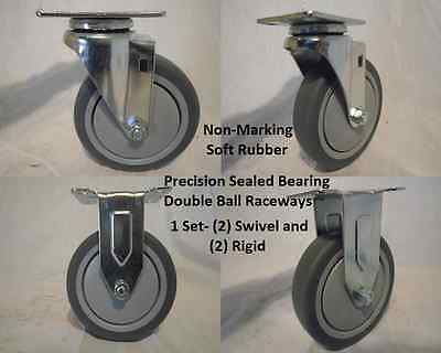 "5"" x 1-1/4"" Swivel Caster Thermoplastic Soft Rubber Non-Marking Wheel & Rigid"