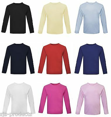 NEW Baby Toddler Boy/Girl Plain Long Sleeve T-Shirt Top 100% Cotton 0 to 6 Kids