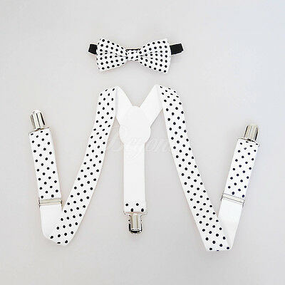 White Polka Dots Suspender and Bow Tie Set for Baby Toddler Kids Girls (USA)