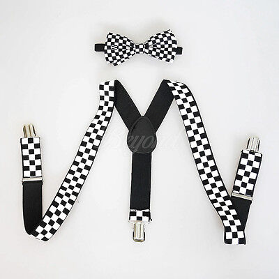 Black Suspender and Bow Tie Set for Baby Toddler Kids Boys Girls (Checker)