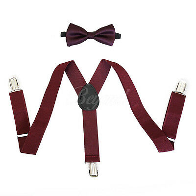Burgundy Suspender and Bow Tie Set for Baby Toddler Kids Boys Girls (USA Seller)