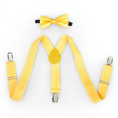 Yellow Suspender and Bow Tie Set for Baby Toddler Kids Girls Boys (USA Seller)