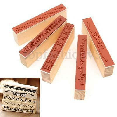 Vintage Lace Timbri in legno Gomma Stampo Timbro Scrapbooking DIY 10X3cm