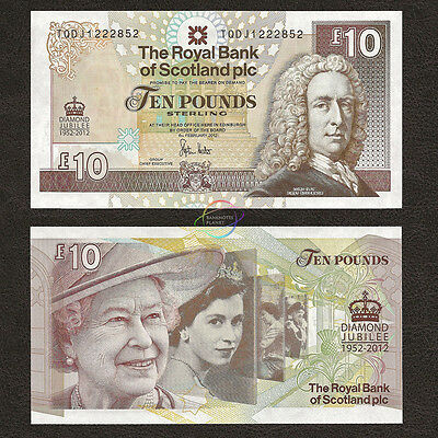SCOTLAND 10 Pounds, Commemorative QE II Diamond Jubilee, 2012, P-368, UNC