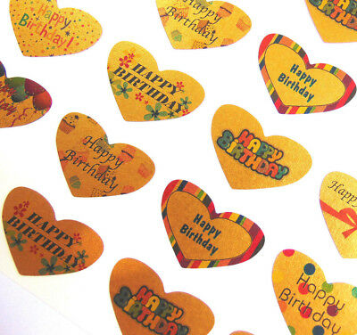 Small Gold Happy Birthday Heart Greeting Stickers, Labels for Cards, HBHG-3524