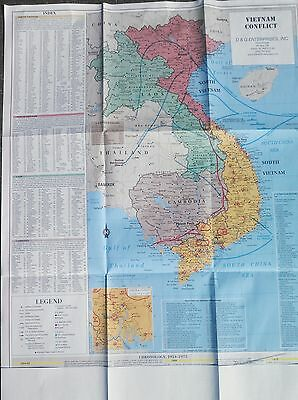 """Military Vietnam War Conflict Wall Map LARGE 28x35"""" all of SEA  -  5 color;"""
