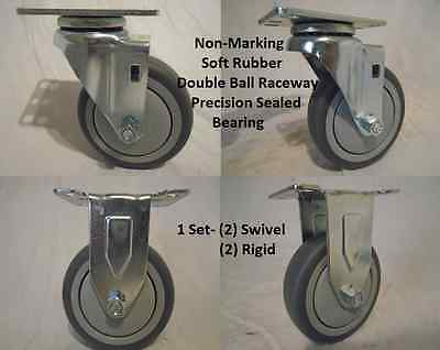 "4"" x 1-1/4"" Swivel Caster Thermoplastic Soft Rubber Non-Marking Wheel & Rigid"