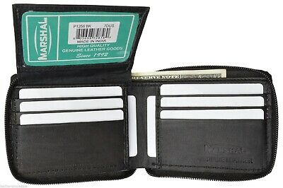 Mens Leather Bifold Wallet Zipper Soft Leather Multi Pockets Marshal®