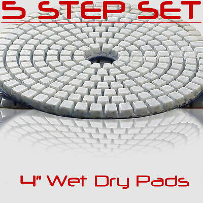 Diamond Polishing Pads 4 Inch 5 piece Set Wet Dry For Granite Concrete Marble