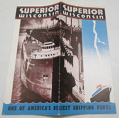Vintage Superior Wisconsin Shipping Ports Brochure Lake Superior