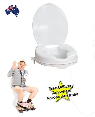 "Toilet Seat Raiser 2"" 50mm With Lid .. Mobility Assistance"