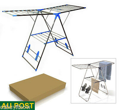 Stainless Steel Clothes Airer Drying Rack Garment Hanger Foldable Cloth Dryer
