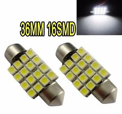 2pc 36MM 16SMD 16LED Car Interior Festoon Dome LED Vehicle Light White 12V