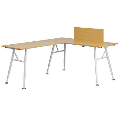 Flash Furniture Beech Laminate L-Shape Computer Desk with White Frame Finish