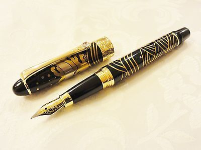 """Handmade Japanese golden Makie fountain Pen """"Crescent and Wave"""""""