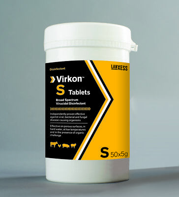 Virkon S disinfectant tablets 50 x 5gm (total 25lt)  pets, farm, birds, reptiles