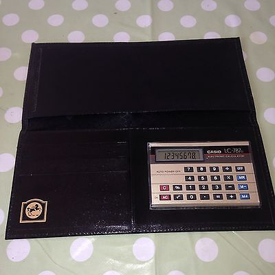 Vintage Casio LC-787G Electronic Retro Calculator In Fine Leather Case