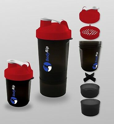 BodyRip 400-500ml PROTEIN MIXER SHAKER BOTTLE CUP WHEY NUTRITION ⋐BLACK⋑