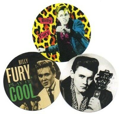 3 BILLY FURY BADGES. Rock'n'roll, 60's UK pop.