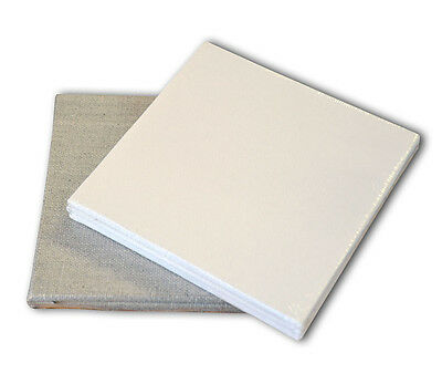 Pebeo 10 x 10cm Art Painting Canvas Boards Pack of 3 - White Cotton or Linen
