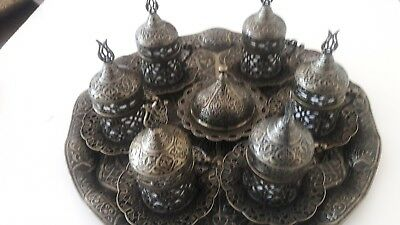 Handmade Copper&Porcelain Turkish- Ottoman Coffee Espresso Serving Set 4 Person