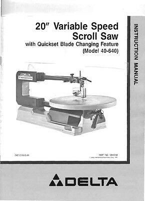 "Delta Rockwell No. 40-640 20"" Variable Speed Scroll Saw Instructions"