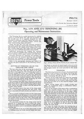 Delta Rockwell No. 1170 and 1172 Tenoning Jig Instructions