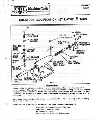 """Delta Rockwell Tailstock Modification 12"""" Lathe #1460 Instructions"""