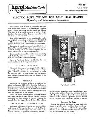 Delta Rockwell PM-1641 Electric Butt Welder for Band Saw Blades Instructions