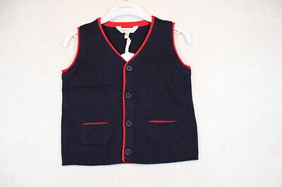 Baby Boy Size 00,0,1,18m,2 Fox & Finch Winter Navy Knitted Vest NWT