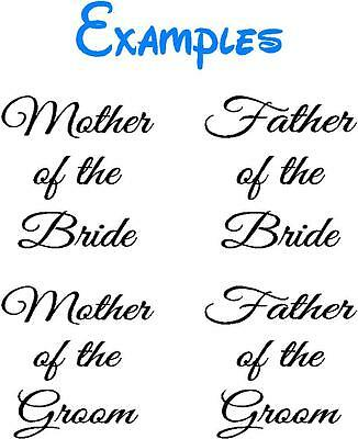 Mother & Father of the Bride Groom Wine Glass Pint Glass Decal Stickers Wedding
