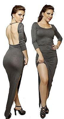 81b0addd676 GRAY Wrap Front Minimalist Backless Open Back Slip Jersey Party Long Maxi  Dress