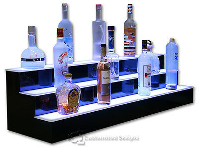 "48"" Illuminated LED Liquor Display, Back Bar Shelving, 3 Tiers, Commercial Grade"