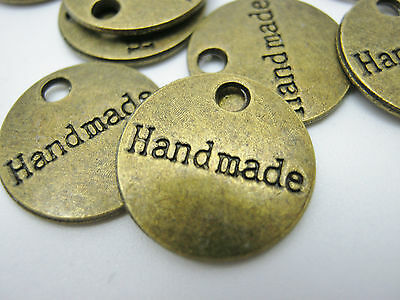 """10 Handmade Label Metal Charms Tags 15mm (5/8"""") Bronze Handmade Crafts Labels"""